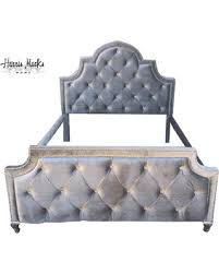 silver velvet tufted bed upholstered queen rhinestone crystal button nailhead trim frame made to order tufted bed frame e78