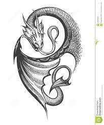 татуировка дракона в стиле гравировки иллюстрация вектора