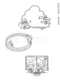 モノクロ イラスト素材 夏のイラスト素材 16437647 Pixta