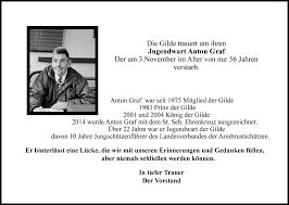 Die Gilde trauert um Anton Graf   St. Sebastianus Bogenschützen Gilde  Burtscheid