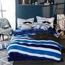blue and white stripes winter soft duvet cover set queen king size fleece bedding set modern fleece fabric bed sheet pillow case cotton bedding best duvet