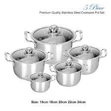 5pc induction hob stainless steel cookware casserole stock pot pot set glass lids