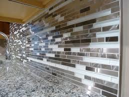 Mosaic Tiles In Kitchen Metal And White Glass Random Strips Backsplash Tile Mosaic 15 1 2