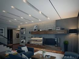 ceiling recessed lighting over apartment living room and black drum shade floor lamp