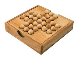 Wooden Peg Board Game MaxiAids Peg Solitaire Game with Wooden Marbles 51