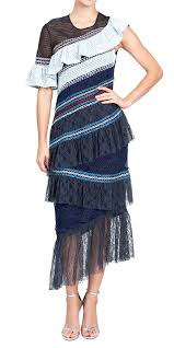 Peter Pilotto Size Chart Peter Pilotto Ruffle Lace Trimmed Midi Cocktail Dresses