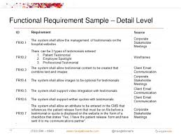 Functional Requirement Sample Detail