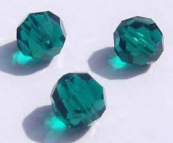 Swarovski <b>round Austrian</b> crystal beads <b>faceted</b> emerald 3mm 4mm ...