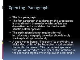 how to move from the explication to the essay opening paragraph 2 opening paragraph