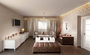 Minimalist Living Room Interior With White Brick Wall And Chairs White Brick Wall Living Room
