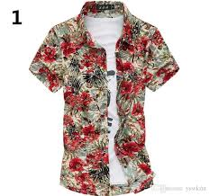 Patterned Button Up Shirts New Men Casual Shirts Short Sleeve Turn Down Collar Floral Printed