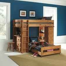 ... Bed Photos Natural Polished Mahogany Wood Bunk With Ladder And Dresser  Also Study Desk Plus Shelves Combined Rounded ...
