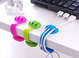 6pcs/lot USB Cable Wire Organizer Cable Winder Clip Tidy USB Charger Cord  Holder desktop