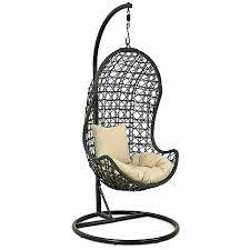 swinging egg chair fresh dark brown rattan effect la garden hanging cushion pillows