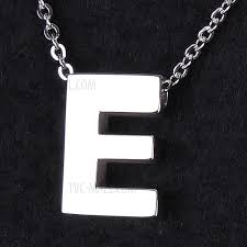 letter pendant necklace trendy titanium steel chain necklace for men and women silver letter