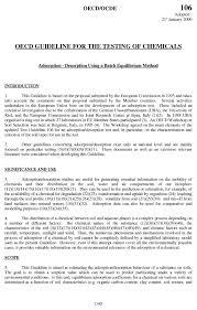 test no adsorption desorption using a batch equilibrium  test no 106 adsorption desorption using a batch equilibrium method oecd edition