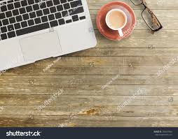 top office table cup. Office Desk - Top View Of Brown Wooden Table With Cup Coffee,glasses