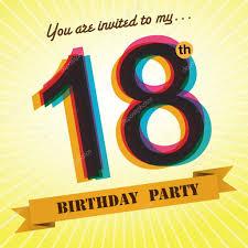 18th birthday party invite template design in retro style vector background stock vector