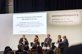 opening roundtable discission from tiamsa confernce 2018 at viennacontemporary l r marek claassen founder and ceo artfacts