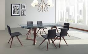 delta extendable dining table 10mm tempered clear glass top stainless steel frame poplar wood with by whiteline