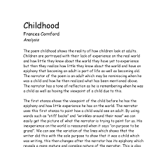 compare and contrast jackie kays presentation of childhood in  poem analysis amp quot childhood amp quot by s cornford