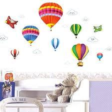 hot air balloons wall decals removable vinyl wall cartoon airplane and hot air balloons home decoration
