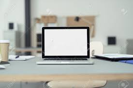 computer office table. Close Up Laptop Computer On Top Of Office Table A Businessman With Empty White Screen