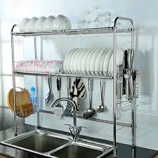 over the sink 2 tier stainless steel dish rack holder commercial storage drainer