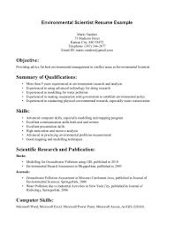 Entry Level Environmental Science Resume Environment Resume
