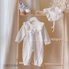 Quần áo sơ sinh [QUỲNH BOUTIQUE] Body công chúa dài tay kèm mũ cho bé 0-18M  (Hồng, Trắng)