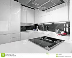 White Modern Kitchen With Steel Appliances Stock Photos Image - White modern kitchen