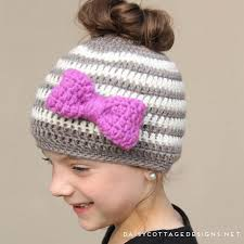 Free Crochet Hat Pattern With Ponytail Hole Classy Kids Messy Bun Hat Crochet Pattern Daisy Cottage Designs
