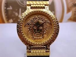 authentic large men s gianni versace medusa coin signature watch gianni versace signature gold watch