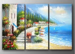 handmade mediterranean oil painting on canvas beach life canvas wall pictures modern home decoration wall art 3pn30 on mediterranean canvas wall art with handmade mediterranean oil painting on canvas beach life canvas wall
