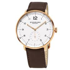 stuhrling original men s quartz monaco brown leather strap watch free today 13474492