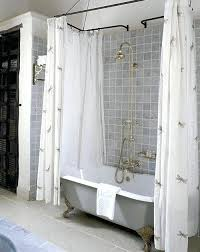 love the brass and gray shower curtains for clawfoot tub curtain liner solution