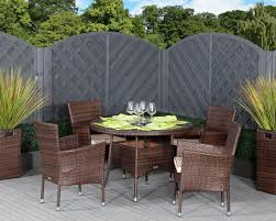 cambridge 4 rattan garden chairs and small round dining table set in chocolate and cream rattan direct