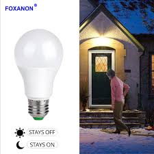 Dusk To Dawn Sensor For Led Lights Us 4 99 40 Off Foxanon Sensor Lights Bulb Dusk To Dawn Led Light Bulbs Smart Lighting Lamp 10w 15w E27 B22 Automatic On Off Indoor Outdoor Yard In