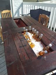Ice Bucket Table My Room Mate And I Built Ourselves A Deck Table With Built In