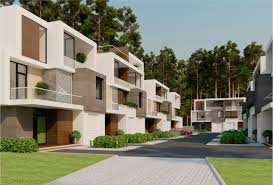 stunning modern townhouse design with garden idea in front yard house plus  plant on the balcony