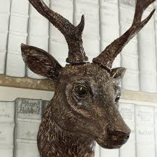wall mounted brown stag deer head shabby vintage chic country home gift figure 5055630908580