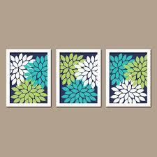 turquoise navy blue lime green custom colors flower burst dahlia petals artwork set of 3 trio prints decor bedroom wall art bathroom on lime green bathroom wall decor with coral turquoise navy wall art canvas bedroom artwork by trmdesign