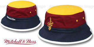 Cavaliers And Mitchell 'color-block Hat Ness Bucket' Gold-burgundy-navy By