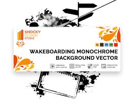 Shocky Design Studio Wakeboarding Monochrome Background Vector