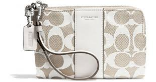 Lyst - Coach Boxed Legacy Lzip Small Wristlet in Printed Signature Fabric  in White