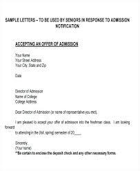 Acceptance Letter For Offer Sample Admission Offer Acceptance Letter Reply To Template