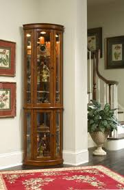 Living Room Cabinets With Glass Doors Lighted Corner Curio Cabinet Decoration For Living Room And