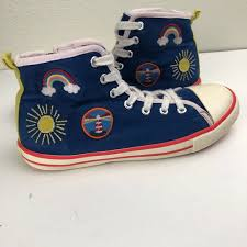Mini Boden High Top Canvas Sneaker Embroidered 32