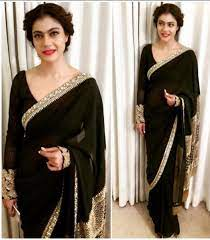 Bollywood Style Kajol Black colour georgette saree in USA, UK and Canada