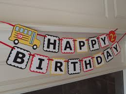 custom happy birthday banner school bus party birthday banner for wheels on the bus party